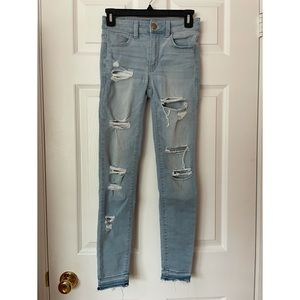 American Eagle High Waist Light Wash Ripped Jeans